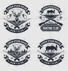 Set of vintage style hunt club logos labels vector