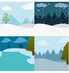 Set winter landscape and snowing weather vector