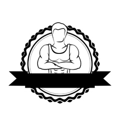 silhouette sticker border with muscle man crossed vector image
