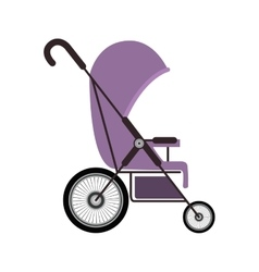 Simple purple baby carriage with layette vector