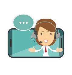 smiling female operator with headset speaking from vector image