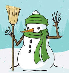 snowman christmas holiday winter outdoor cartoon v vector image