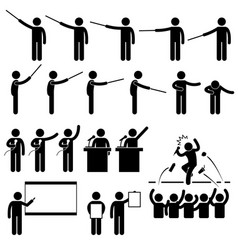 speaker presentation teaching speech stick figure vector image