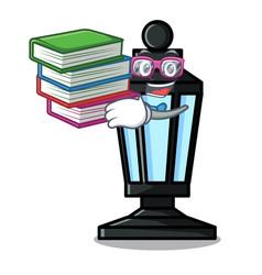 Student with book street lamp mascot cartoon vector