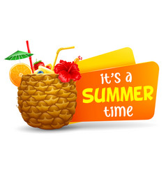 summer time title with exotic cocktail in vector image