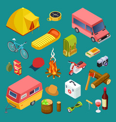 tourist equipment camping cars snack and rest vector image