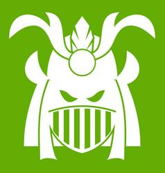 tribal helmet icon green vector image