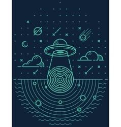 Ufo in dark night vector