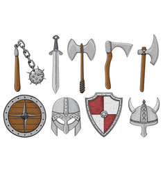 Viking weapons and ammunition collection colored vector
