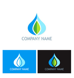 water drop ecology logo vector image vector image