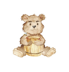 watercolor bear and keg honey clipart vector image