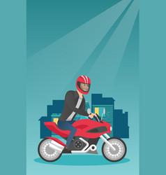 young caucasian man riding a motorcycle at night vector image vector image