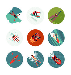 extreme sport flat icons set top view vector image
