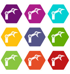 industry robot icon set color hexahedron vector image