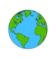 planet earth colored the coloring vector image