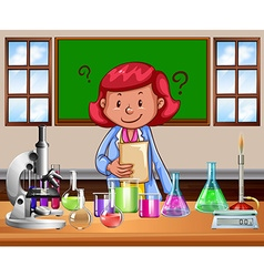 Science teacher doing the lab vector image vector image