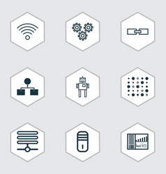 set of 9 robotics icons includes mechanism parts vector image