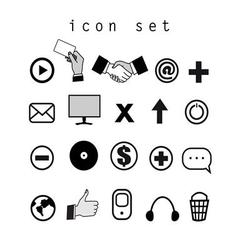 Set of black and white icons on the computer vector image vector image