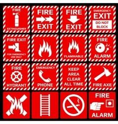 Fire alarm symbols set vector image vector image