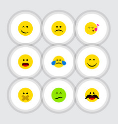Flat icon gesture set of frown wonder cheerful vector