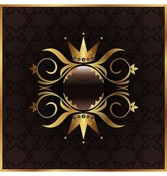golden floral frame with crown vector image
