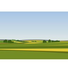 Green landscape with yellow fields vector