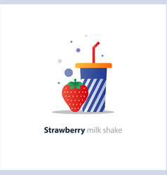 high glass of milk shake with strawberry vector image vector image