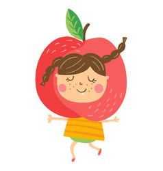 apple girl vector image