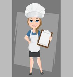 Chef woman holding clipboard cute cartoon vector