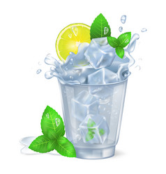 faceted glass of mojito with ice vector image
