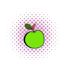 Green apple icon comics style vector image
