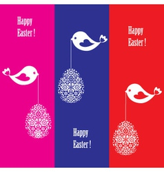 greeting card with birds for easter vector image vector image