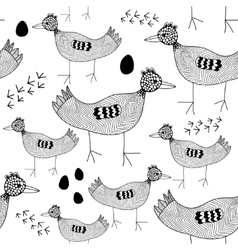 Seamless pattern with black and white birds vector image