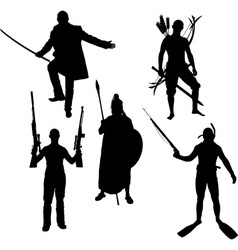 silhouettes of warriors vector image vector image