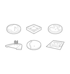 sport arena icon set outline style vector image
