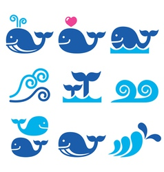 Whale sea or ocean waves blue icons set vector image
