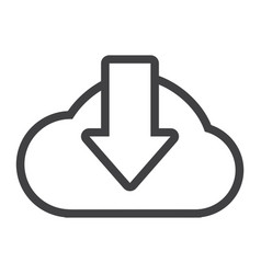 cloud download line icon seo and website vector image vector image