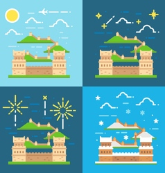 Flat design of Great wall China vector image