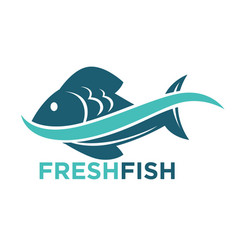 fresh fish logotype in blue color isolated on vector image