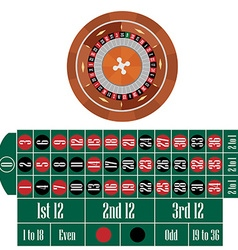 Roulette wheel and table vector image vector image