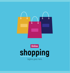Web banner online shopping with shopping bag vector