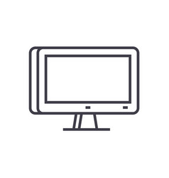 3d monitor icon sign vector image