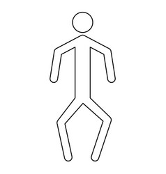 a man with crooked legs the black color icon vector image vector image