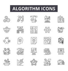 algorithm line icons signs set outline vector image