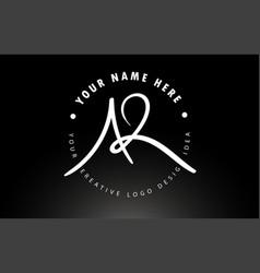 Ar handwritten letters logo design with circular vector