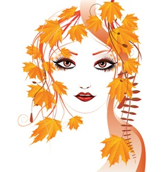Autumn floral girl vector image