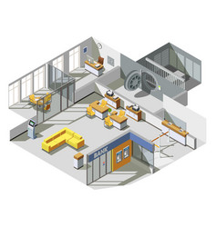 Bank office interior isometric composition vector