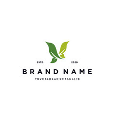 Bird and leaf logo design vector