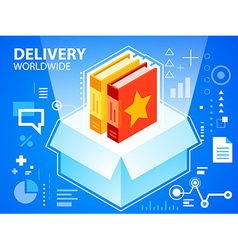 Bright delivery box and books on blue backgr vector