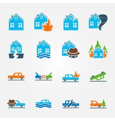 Bright flat insurance icons set vector image
